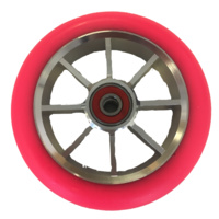 8S 100mm Wheel - Silver Core with Fluro Pink PU (pair)